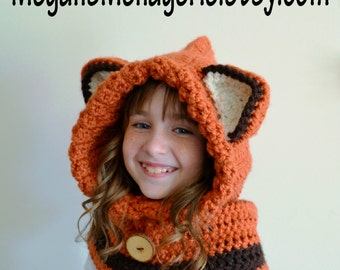 Fox Hat - Fox Hoodie - Fox Cowl - Animal Hat - Hooded Scarf - Crochet Hoodie - Chunky Crochet Hat - Animal Scarf
