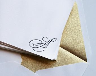 Monogram Stationery - Letterpress  25 Cards - Regal