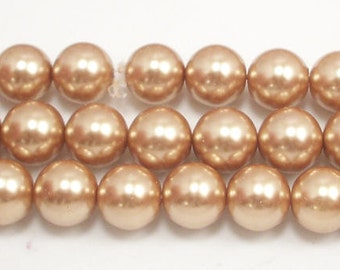 8mm Champagne Glass Pearls - 15.5 inch strand of glass pearls