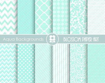 Aqua Digital Backgrounds Digital Papers, Aqua Textures Digital Paper Pack, Aqua Teal Scrapbooking Digital Paper - 1876