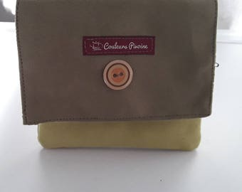 Clutch, worn currency, Kit, makeup, multi uses, to slip in your bag, Bohemian clutch, suede Khaki, olive green fabric
