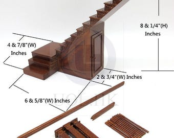 Dollhouse 1:12 Scale Miniature Hand Carved Right Landing Staircase With Stock Room [Finished in walnut]