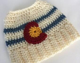 Messy bun Colorado Flag hat women natural colors