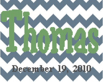 Name with Chevron Background Cross Stitch Pattern, Chevron Cross Stitch Pattern, Name Cross Stitch Pattern, Counted Cross-Stitch