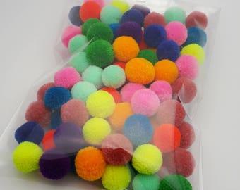 Pom pom ball 15 mm. x 15 mm. 100 pcs mix Color.