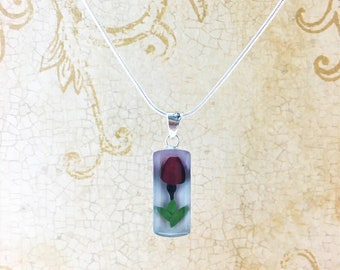 Miniature Rose Pendant, Real Rose Necklace, Dried Rose pendant,Love Charm