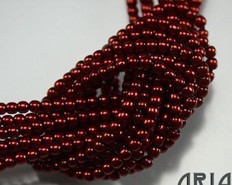 BURNT ORANGE: 2mm Czech Glass Pearl Beads (150 beads per strand)