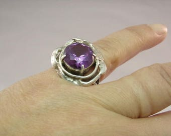 Vintage Artisan Sterling Ring with Amethyst, size 6