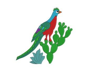 Mexican Quetzal Bird Design- Cinco de Mayo  -  Embroidery Design - 4x4,  6x6, 8x8, 10x10, 12x12