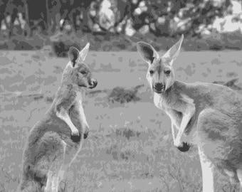Kangaroo, Layered Papercut Template, Wildlife Portrait, Papercut Portrait, Commercial Use, Personal Use