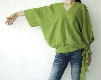 NO.13 Lime Green Cotton V-Neck Top, Dolman Sleeves Top, Women's Top