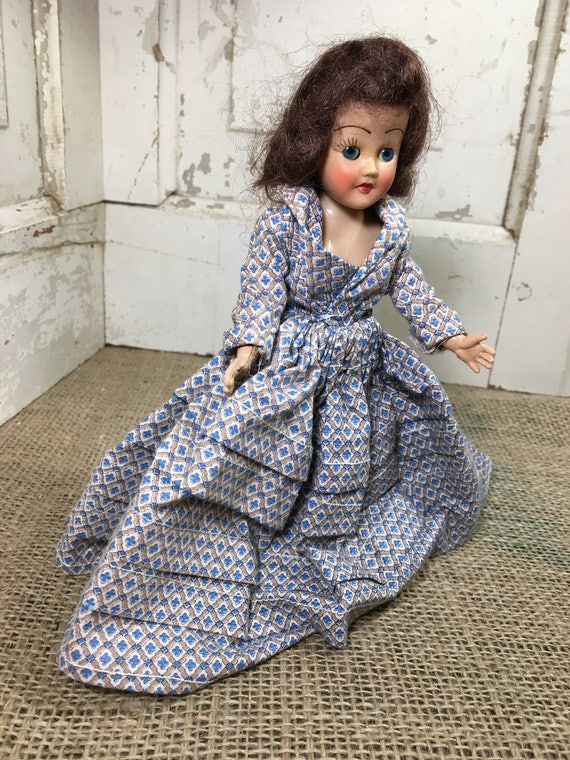 "Vintage sleepy eyed doll from the mid century, vintage doll, sleepy eyed 7"" doll, vintage hard plastic doll, hard plastic vintage doll"