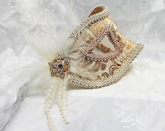 Pale Gold Masquerade Mask, Light Gold Champagne Paisley Metallic Brocade Masquerade Mask