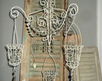 vintage farmhouse crystal candle chandelier, french country, vintage chandelier
