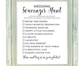 Wedding Scavenger Hunt, 8x10 & 8.5x11 Instant Download, Printable Wedding Sign, Printable Bridal Scavenger Hunt, Wedding I Spy Game,