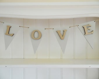 LOVE Bunting-Wooden Bunting-Bone and Gold-Hand Painted-Wedding Decor-Reception Decor-Home Decor-Valentines Gift-Gift for Teens-Gift for Her