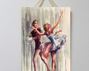 Ballerina Vintage Board 003, Ballet Decor, Ballerina Wall Decor, Ballerina Room Decor, Ballet Wall Art.