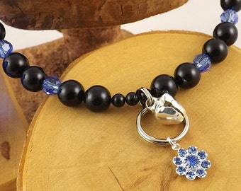 Sapphire Blue and Black Pearl Le Chat Chic Swarovski crystal luxe kitty collar with strong magnetic clasp