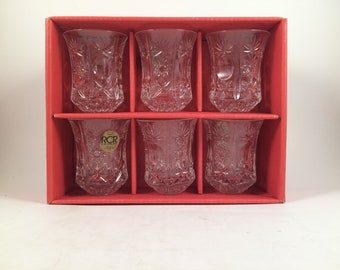 Vintage Impero shot glasses...Set...6 piece...Made in Italy...24% Lead Crystal...cordial glass... elegant cut crystal