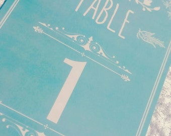 Wedding Table Numbers, Mint Green Shabby Chic Style A5 Table Number Cards. Rustic Wedding Table Place Cards. Dinner Party. Wedding Tables