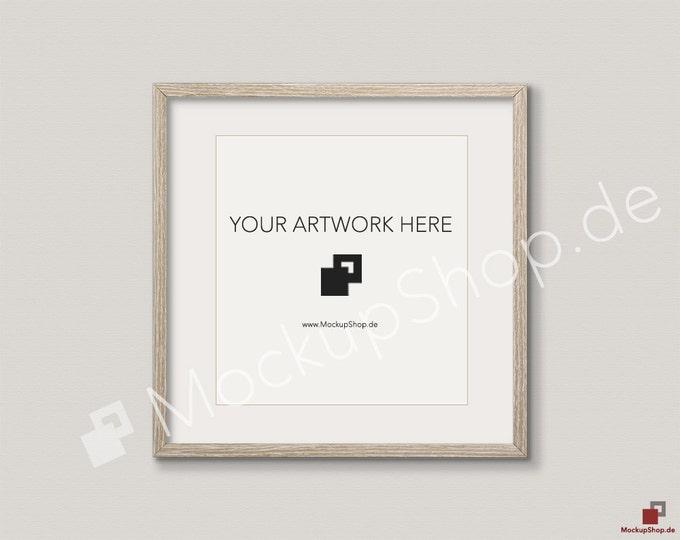 SQUARE MOCKUP FRAME on beige wall, Frame Mockup, Amazing brown photo frame mockup, Digital Download Square Frame Mockup