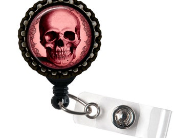 Maroon Skull -  Anatomical Black Retractable Badge Reel ID Holder
