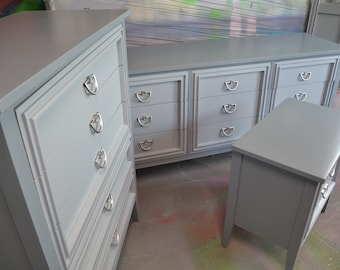 """Bedroom set 3 piece Gray on Gray """"Dixie """" Pewter hardware """""""