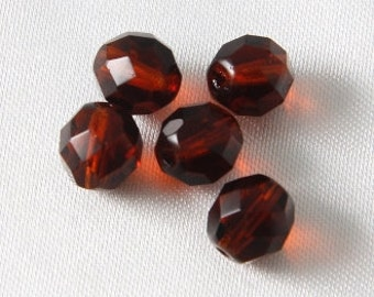 20 pcs - 8mm Czech Glass Faceted Round Fire Polished Crystals Dark Topaz