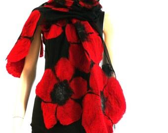 Nuno felted shawl - large flowers scarf - wool and silk - red and black felt shawl Majorlaura
