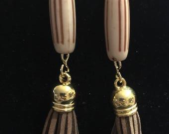 Long Brown bead and suede tassel Dangle Earrings Handmade hypoallergenic and nickel free