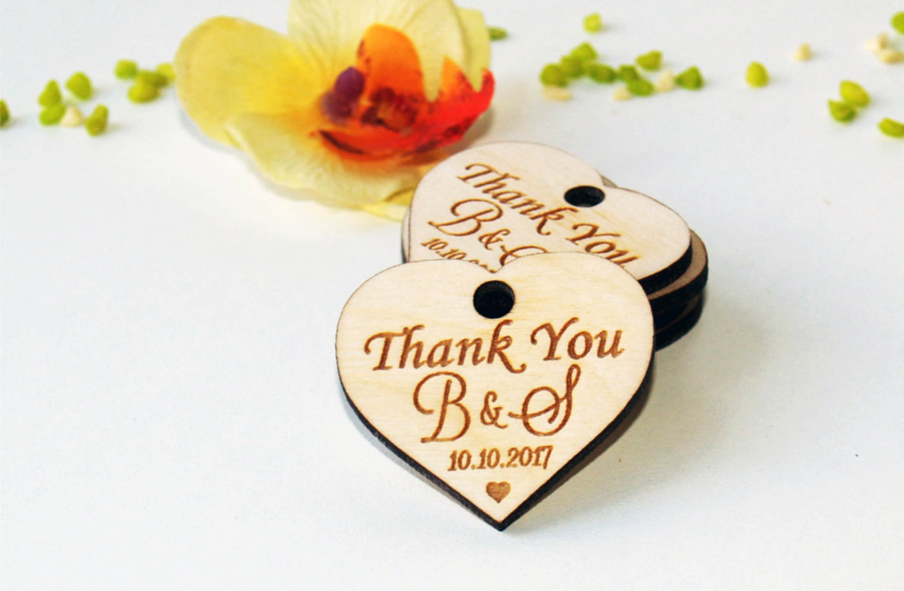Thank you wood wedding tags Wedding favors Gift tags