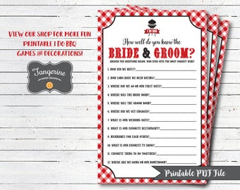 I Do BBQ Couples Shower Game - How Well Do You Know The Bride & Groom Game - Bridal Shower Games - Printable PDF Files