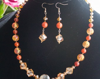 Natural stones and glass jewelry set.