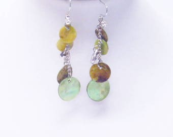 Green Dangling Shell Bead Earrings