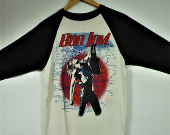1987 Bon Jovi Slippery When Wet Concert T Portland, OR Sz L / 80s Screenprint T / Vng 80s Vixen, Danzig, Cinderella