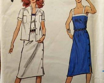 Vintage Uncut 70's Butterick Sz 18 Misses Dress and jacket pattern 3038