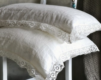 Provincial Living. Pure linen pillowcase with white linen lace. Antique white. Vintage inspired linen bedding