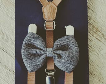 Groomsmen Leather Suspenders Baby Leather Suspenders and Bow Tie Rustic Toddler Ring Bearer Outfit Little Boy Suspenders Family Photo Outfit