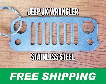 JK Wrangler Stainless Steel Grill Keychain, Jeep Keychain