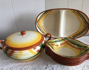Vintage California Pottery Vernonware Vernon Kilns Homespun Plaid Gold Green and Brown Dishes Dinnerware Serving Pieces Plates & Gold dinnerware | Etsy