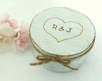 Ring Box Wedding Ring Pillow Alternative Wedding Ring Bearer Shabby Chic Rustic Ring Box, Engraved Initials and Heart Ring Bearer Pillow Box