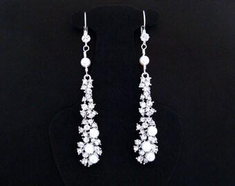 Long Bridal Earrings,Rhinestone Bridal Earrings,Rhinestone Pearl Earrings,Pearl Rhinestone Wedding Earrings,Bridal Long Rhinestone Earrings