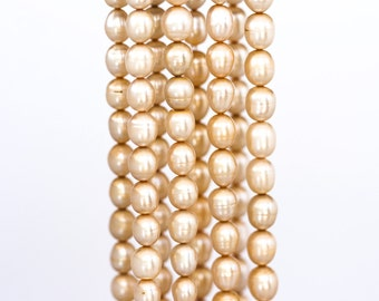 16911 Rice yellow pearls 6 mm Oval champagne pearls Natural freshwater pearls Pearls beads Real pearls for jewerly Cultivated pearls.