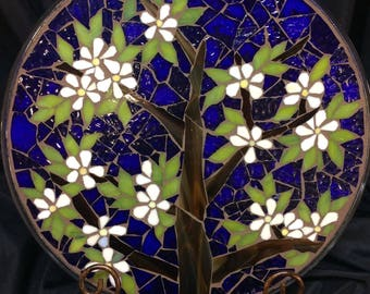 "14"" Stained Glass Mosaic Display  Plate--SpringFlowering Tree"