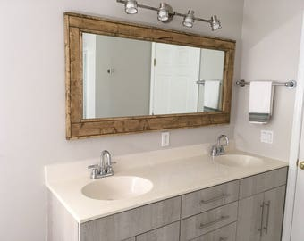 FREE SHIPPING - Double Vanity Herringbone Reclaimed Wood Mirror by Lane of Lenore - 20 Stains -Reclaimed Wood Mirror -Large Wall Mirror