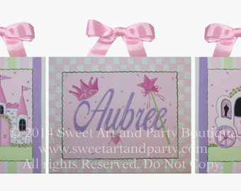 Princess Art, Princess Wall art, canvas name sign, Personalized, hand painted, princess nursery, castle, carriage, pink purple, 3 piece set