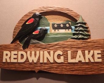 Custom Carved WOOD SIGNS - Completely custom cabin signs, cottage signs, lake house signs, lakehome signs, house signs, home signs