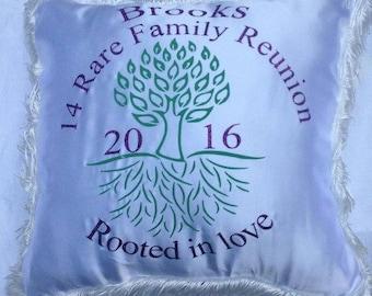 Family reunion keepsake pillow