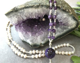 Failed Mala from freshwater pearls, charoite and Amethyst