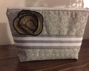 Zippered bridal/makeup pouch